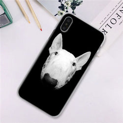 Bull Terrier Head Only In Black Background Phone Case for iPhone