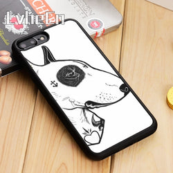 Bull Terrier Black Patch Sketch Side View Phone Case for iPhone, Galaxy