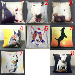 Bull Terrier Portrait Cartoon Puppy Drawing Pillowcase