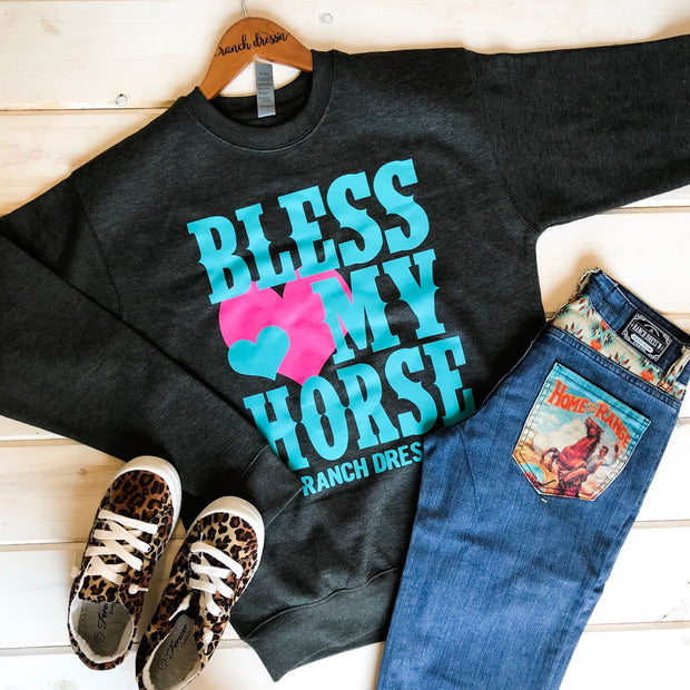 BLESS MY HORSE - GRAY PULLOVER