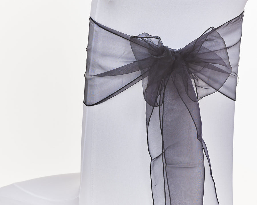 Black Organza Sash Chair Bow