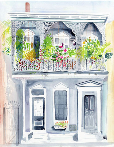 Blooming Balcony watercolor print