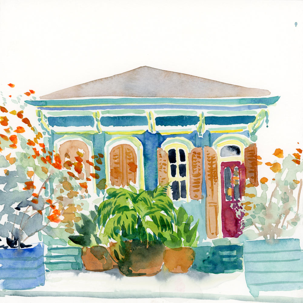 Marigny Blues Shotgun House watercolor print
