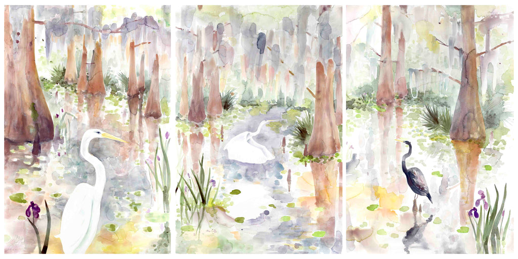 Louisiana Swamp Triptych VII print set