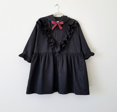 Raven Ruffle Vintage Windbreaker Dress