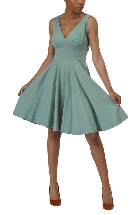 Women's Organic Cotton Sun Dress - Smokey Teal - USA Made
