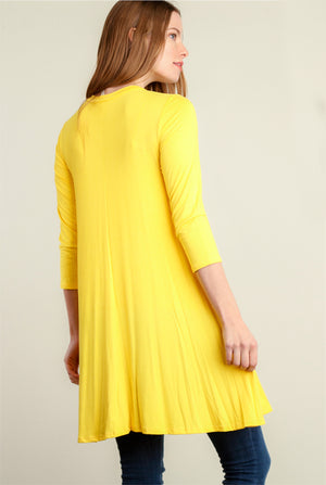 Yellow Panel Design Pocketed Dress