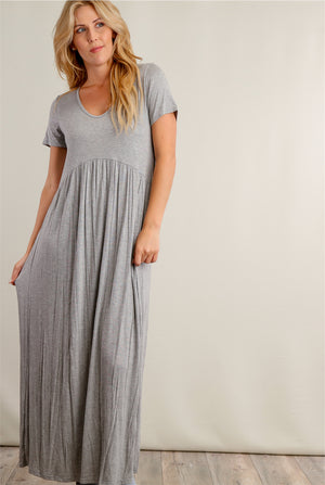 Heather Grey Babydoll Maxi Dress
