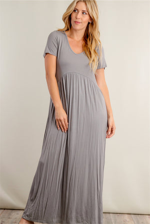 Grey Babydoll Maxi Dress