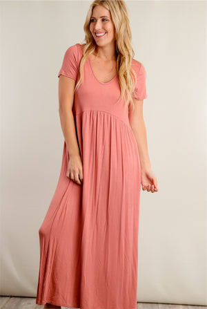 Blush Babydoll Maxi Dress