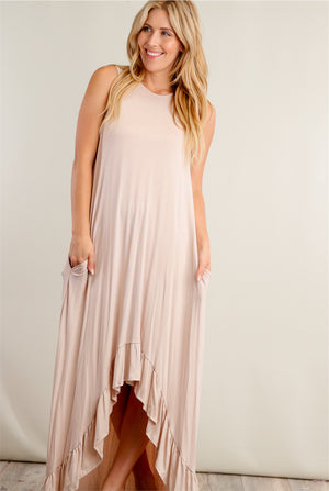 Taupe Hi Lo Solid Maxi Dress