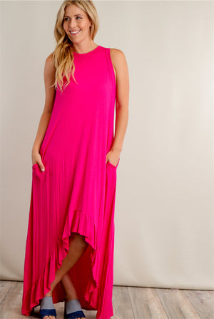 Fuchsia Hi Lo Solid Maxi Dress