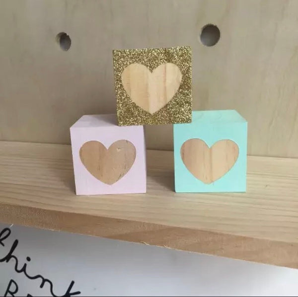 Heart Wooden Blocks - Pretty Yum Co