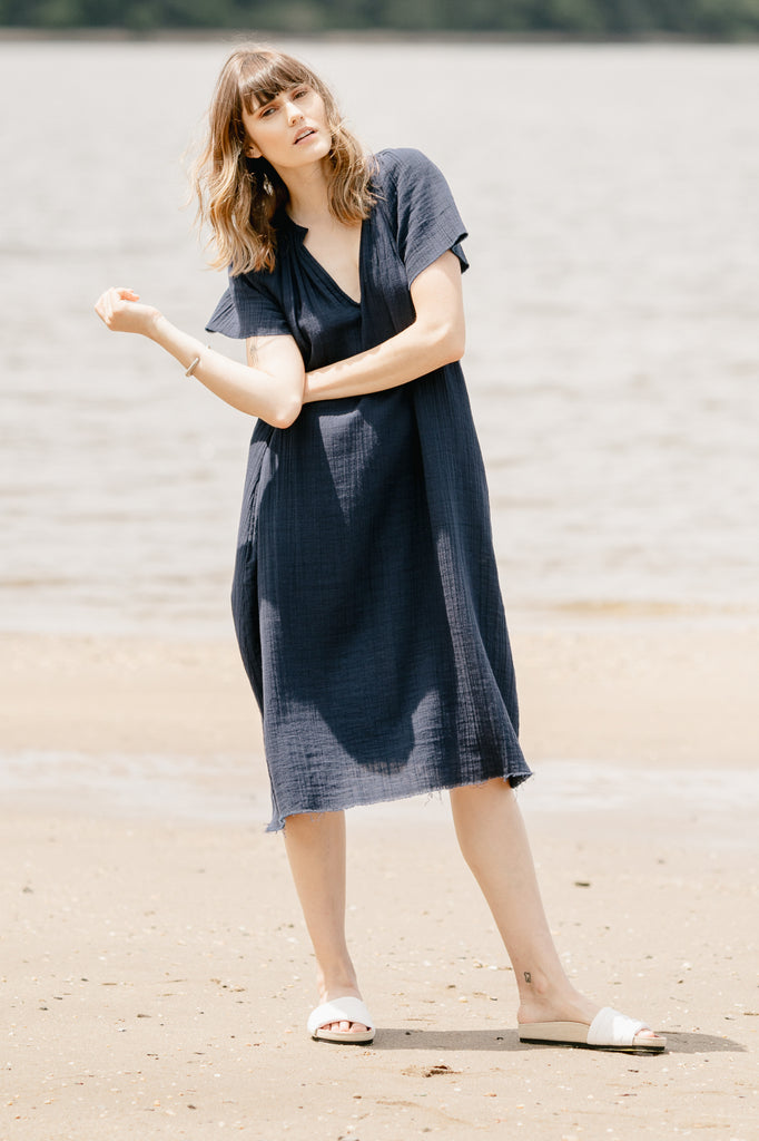 Hisako Frayed V-Neck Peasant Dress