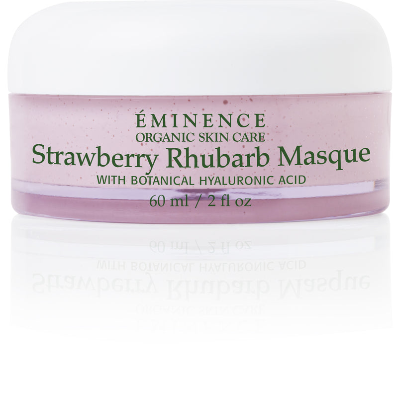Eminence Organic Skin Care. A spa favorite! Strawberry Rhubarb Masque with botanical hyaluronic acid. Eminence Organic Skin Care. Organic custom facials & products available at RUTH REBEKAH organic beauty. Located in BLUE LION Salon Studios at Glade Parks