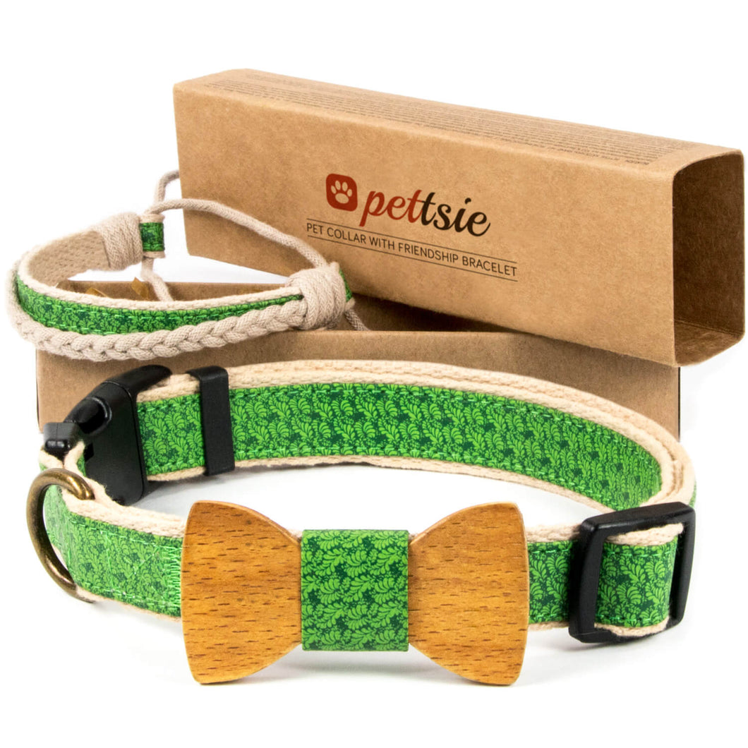 Green dog collar with wood bow tie and friendship bracelet in 2 adjustable sizes