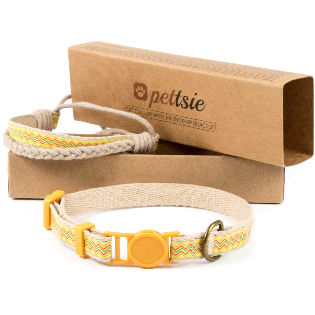 Yellow cat collar with breakaway safety and friendship bracelet for you