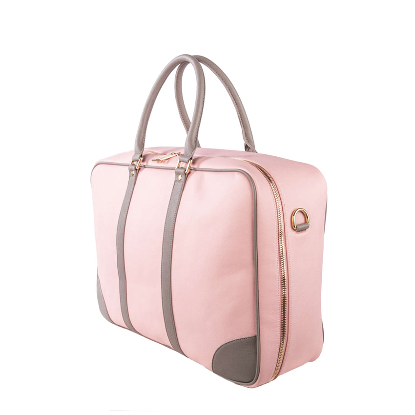 Soft Sided Suitcase Pink Grey Side Journey Luggage