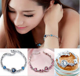 Bridal Jewelry Charm Bracelets Sapphire Blue Bangles Bracelets for Women Gift