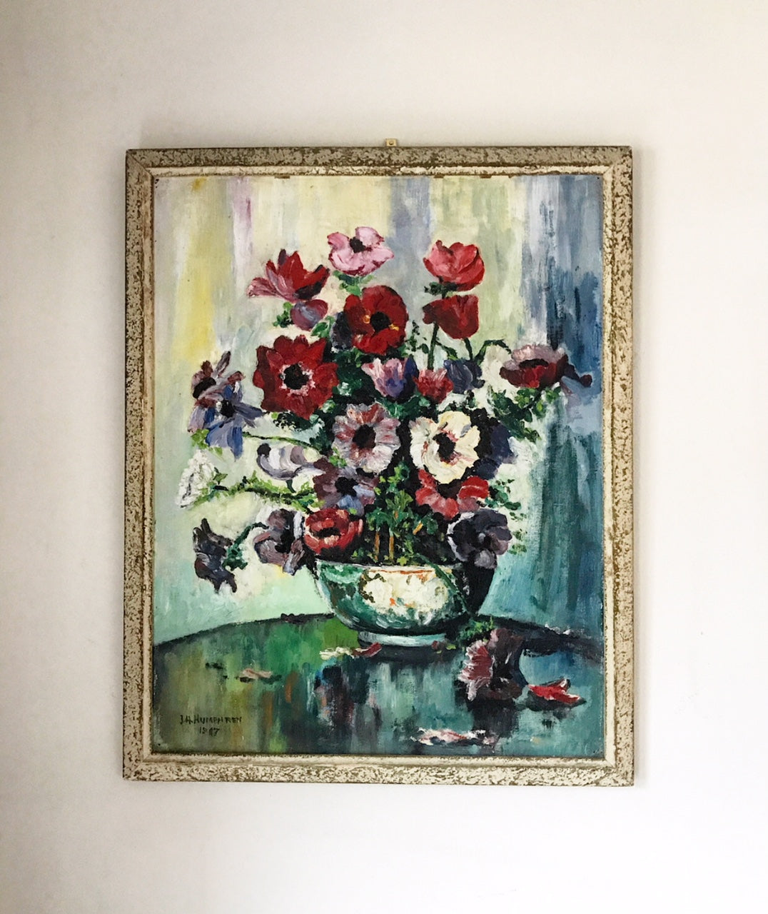 20th century oil painting of Anemones in a vase