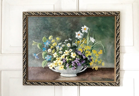 1920's Original oil still life of Wild Flowers in a bowl.