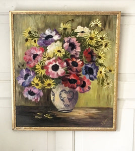 Mid 20th century Still life of Mixed Bouquet in a vase.