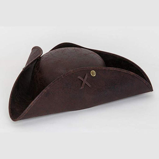 Faux Leather Brown Tri-cornered Hat - JACOBSON HAT COMPANY, INC - The Shops at Mount Vernon