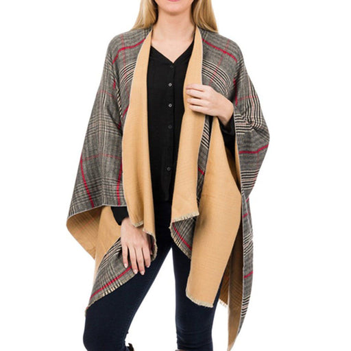 Camel Plaid Ruana - TOP IT OFF - The Shops at Mount Vernon