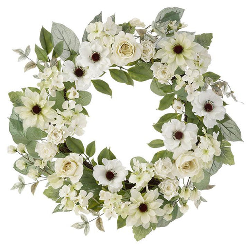 "White Mixed Floral 24"" Wreath - RAZ IMPORTS INC - The Shops at Mount Vernon"