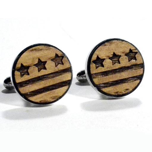 DC Flag Wood Cufflinks - The Shops at Mount Vernon - The Shops at Mount Vernon