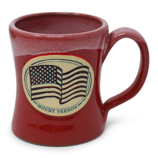 Mount Vernon US Flag Pottery Mug in Red - DENEEN POTTERY - The Shops at Mount Vernon