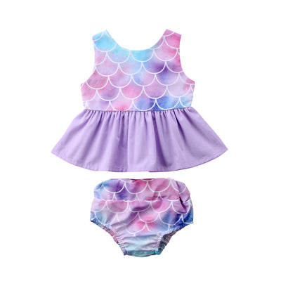 Summer Mermaid Dress Baby Kids Clothes Set