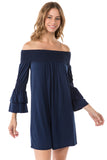 DAISY OFF SHOULDER DRESS (NAVY)- VD1885