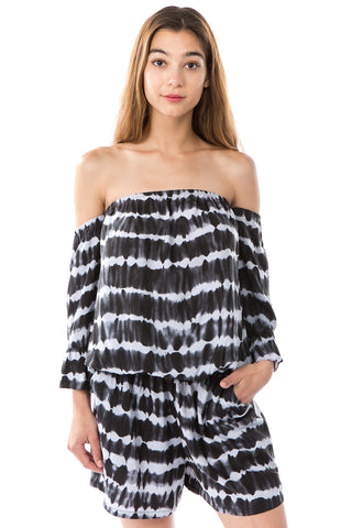 SAVANNAH ROMPER (BLACK/GREY)- VR2487T