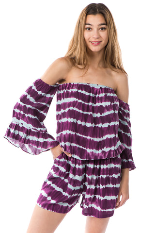 SAVANNAH ROMPER (WINE/GREY)- VR2487T