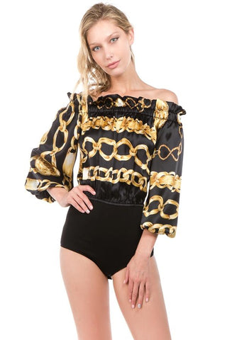 TESS LONG SLEEVE BODYSUIT (Blk/Chain)- VT2159