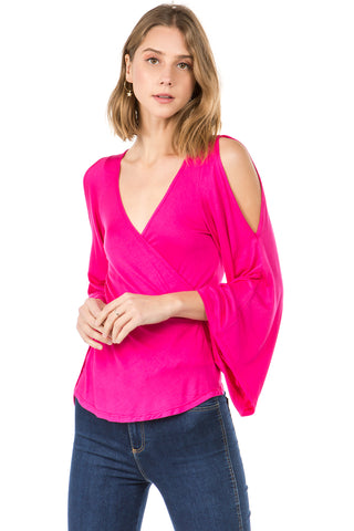 SOLID EDEN WRAP TOP (FUSCHIA)- VT2486S