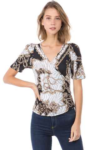 VERSAILLES PUFF SLEEVE TOP (WHITE/BLACK)- VT2491