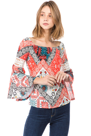 WENDY OFF SHOULDER TOP (MULTI)- VT2495