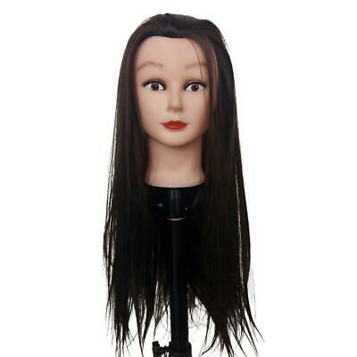 "Training Manikin Head 19"" Female Cosmetology Mannequin Black Hair With Clamp"