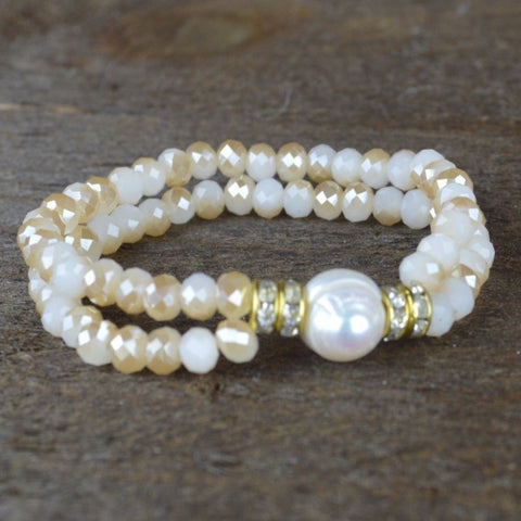 NATURAL CRYSTAL AND PEARL BEADED BRACELET
