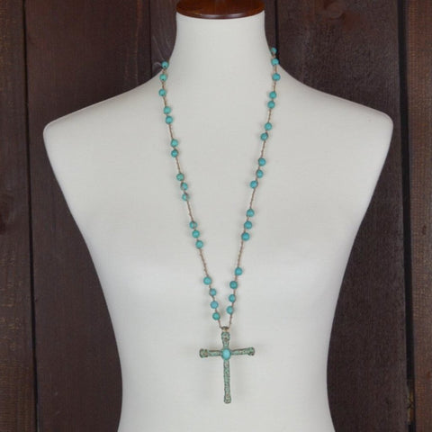 TURQUOISE BEADED NECKLACE WITH CROSS PENDANT
