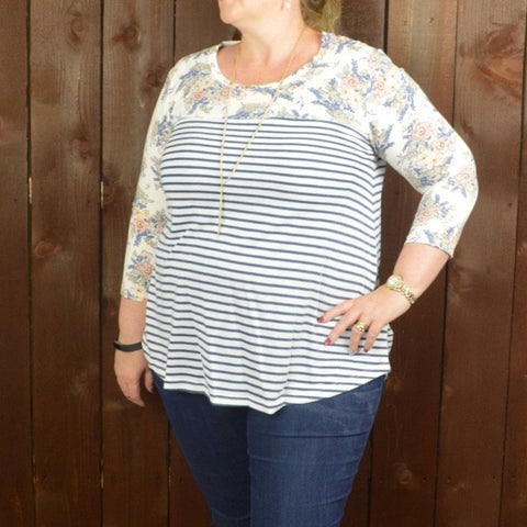 STRIPE KNIT TOP WITH FLORAL YOKE AND SLEEVES