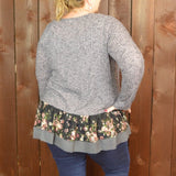 HEATHER GREY KNIT TOP WITH PRINTED FLORAL LACE HEM