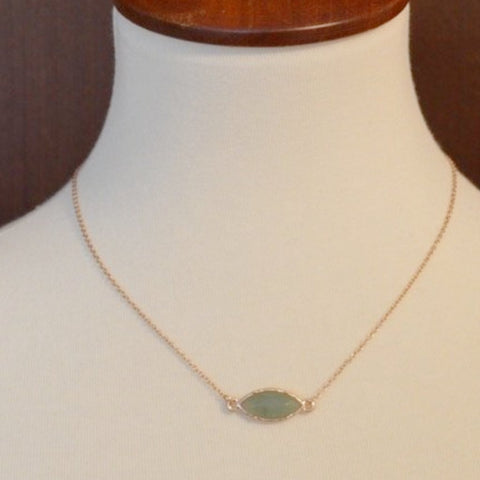 GOLD NECKLACE WITH MINI MINT STONE 18""