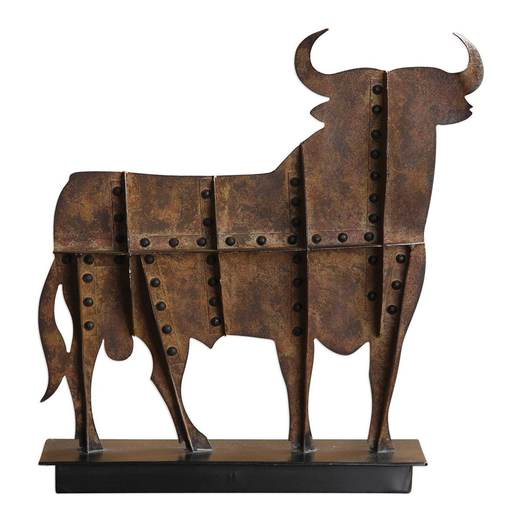 Metal Toro Figurine Stand - City Home - Portland Oregon - Furniture and Home Decor