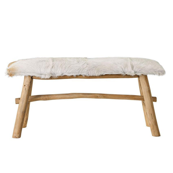 Goat Fur-Covered Wood Bench - City Home - Portland Oregon - Furniture and Home Decor