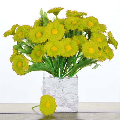 12 Bush 108 pcs Lime Artificial Silk Daisy Flowers