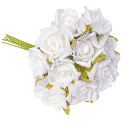 6 Pack 72 Pcs White Artificial Foam Rose Flowers