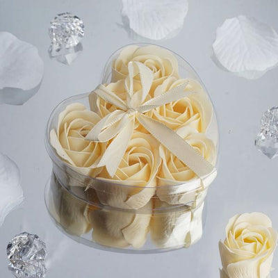 6 Pack Ivory Scented Rose Flower Soap Gift Favor Box with Ribbon
